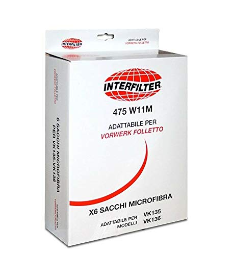 SACCHETTO ASPIRAPOLVERE VORWERK VK135 IN MICROFIBRA CF. 6 PZ.