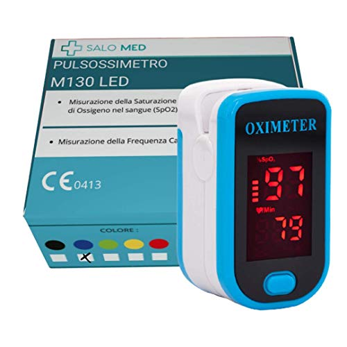 SALO MED M130 - PULSOSSIMETRO OSSIMETRO LED Portatile SpO2, Saturimetro da Dito, Lettore di Impulsi Digitali a Lettura Istantanea, Funzionamento a Pulsante Singolo, (BLU)
