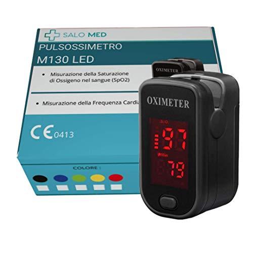 SALO MED M130 - PULSOSSIMETRO OSSIMETRO LED Portatile SpO2, Saturimetro da Dito, Lettore di Impulsi Digitali a Lettura Istantanea, Funzionamento a Pulsante Singolo, (NERO)