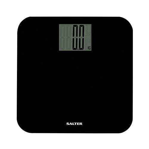 Salter Bilancia Pesapersone Digitale, Bilancia Pesapersona Elettronica con Tecnologia Step-On in Vetro Temperato con Display LCD Ampio e Facile da Leggere, Capacità Max 250 kg, Stile Elegante, Nero