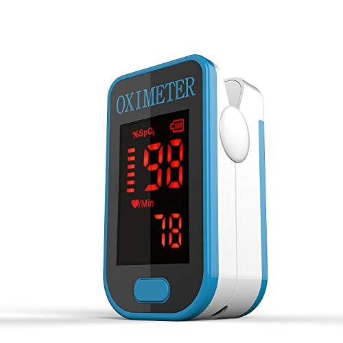 Saturimetro Da Dito- Monitor Di Saturazione Di Ossigeno Nel Sangue PRCMISEMED Con Cordino,Fit For Your Health (Nero) (pink) (blue)