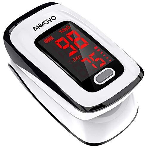 Saturimetro da dito, monitor di saturazione ossigeno nel sangue, monitor battito cardiaco e livello spO2, battito cardiaco e livello SPO2, saturimetro da dito portatile con cordino e batterie