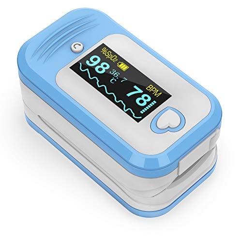 Saturimetro da dito Professionale certificato, MED LINKET AM801 5 in 1 Pulsossimetro da dito, SpO2, Temperatura, Frequenza cardiaca, Indice perfusione, Certificato ce