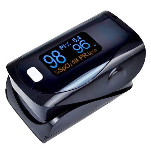 Saturimetro professionale da dito EMAC_PRO-F | Pulsossimetro portatile | Ossimetro per misurazione del livello di ossigeno nel sangue e battito cardiaco.