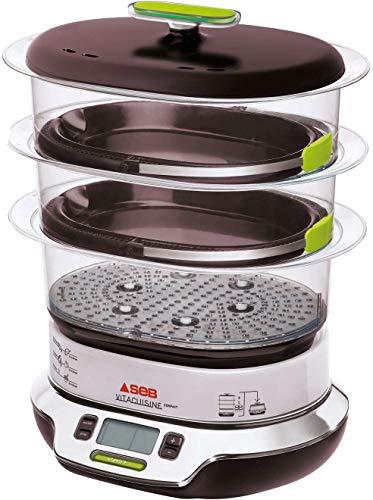 Seb VitaCuisine Compact - Pentola a vapore, 3 cesti a vapore, senza BPA, 2 vassoi per cottura, bicchierini in vetro, portauova, ricettario ultra compatto, brevettato VS405E00