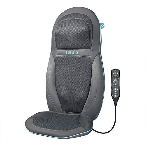 Sedile Massaggiante Shiatsu, Massaggiatore Elettrico con Doppio Motore per Schiena, Spalle e Cervicale, Poltrona Massaggiante Regolabile con Vibrazione e Funzione Calore