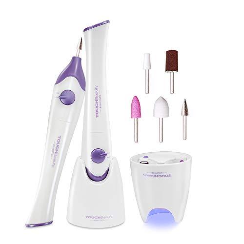 Set Manicure e Pedicure Elettrico,TOUCHBeauty Kit di lime per unghie per Pedicure,Potente Fresa per Unghie con 5 Accessori, Professionale Sistema di Lucidatura per Unghie con luce UV AG-1335P
