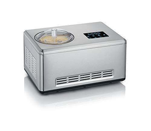 Severin EZ 7406 Macchina del gelato 2 in 1, Funzione yogurt, Timer, Display touch LED, 2 contenitori da 2 L, Funzione raffreddamento automatico, Mantiene freddo per 60 min, Ricettario