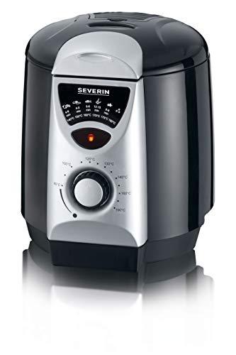 Severin FR 2408 Mini friggitrice e fonduta, Termostato regolabile da 80° a 190°C, Spia luminosa, 6 forchettine da fonduta colorate, Capacità 950 ml, Contenitore antiaderente, 850 W