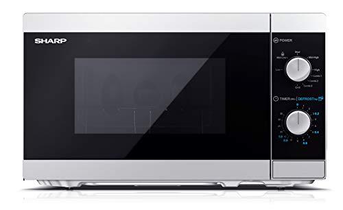 Sharp YC-MG01ES - Forno a microonde 20 litri con funzione grill, 800W potenza microonde e 1000W potenza Grill, 5 livelli di potenza, timer, piatto girevole incluso, argento
