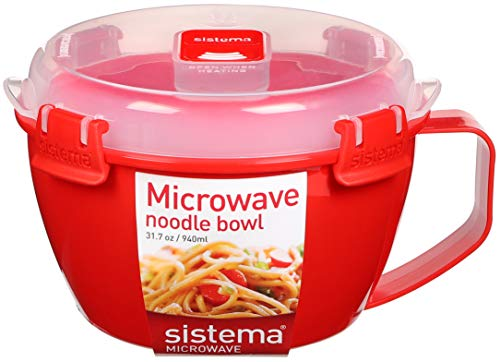 Sistema Bowl Ciotola per Noodle, 940 ml Rosso/Trasparente, Plastic