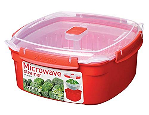 Sistema Large Steamer Microwave vaporiera da microonde con cestello Rimovibile, Grande, 3,2 L, Rosso/Trasparente, Plastic