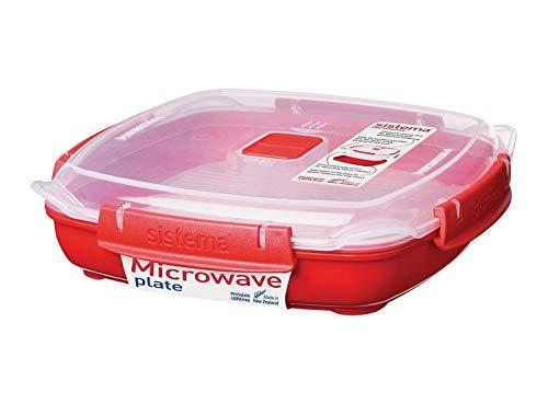 Sistema Microwave piatto da microonde con vassoio per utilizzo come vaporiera rimovibile, 800 ml, rosso/trasparente
