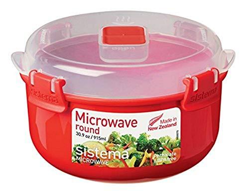 Sistema Round Microwave Contenitore per Alimenti Rotondo/terrina da microonde, 915 ml, Rosso/Trasparente, Plastic, 915ml