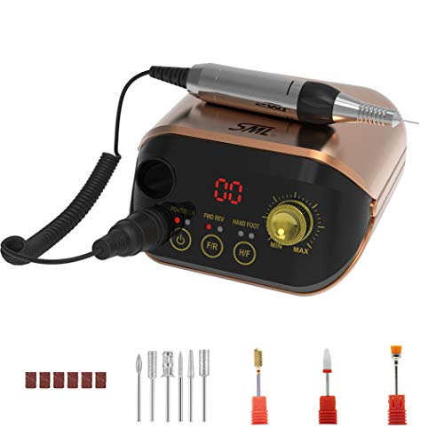 SML M1 fresa per unghie elettrica professionale in casa,limetta elettrica per manicure e pedicure di alta velocità regolabile fino a 35000 rpm, trapano aggiornato e silenzioso con il kit