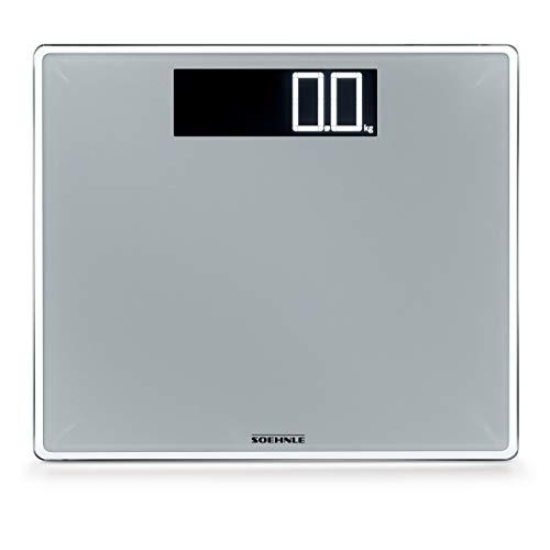 Soehnle Style Sense Comfort 600 Bilancia Pesapersone Digitale, con Portata Fino a 200 kg, con Schermo LCD, Argento, 36 x 36 x 4 cm