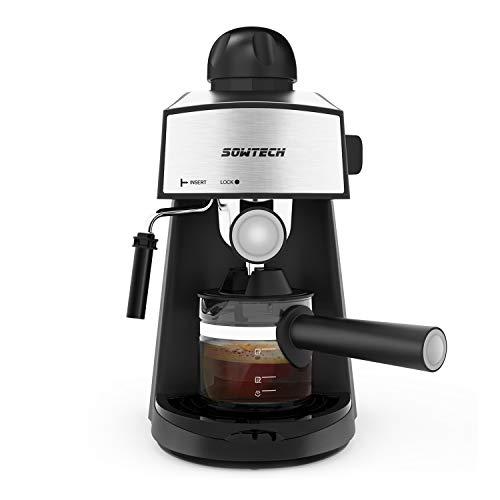SOWTECH Macchina per Caffè Espresso e Montalatte Acciaio Inossidabile Coffee Maker, Espresso, Cappuccino e Latte Machiato