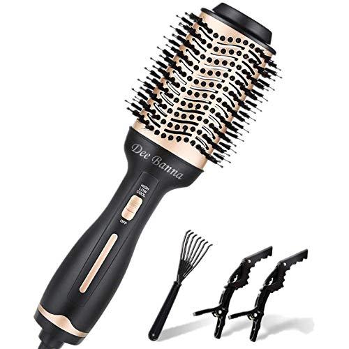 Spazzola per asciugacapelli, spazzola ad aria calda, asciugacapelli e volumizzatore, spazzola elettrica 3 in 1, bigodi, pettine e piastra per capelli per tutti i tipi di capelli (oro + nero)