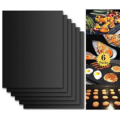 Tappetino da Barbecue Set di 6 Mat Cottura BBQ Riutilizzabile Antiaderente in Teflon Approvati da LFGB & FDA, Resistenti a Temperatura Alta Adatti per Griglia a Gas Carbone Forno e Griglia Elettrica