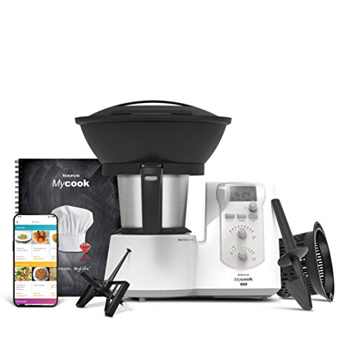 Taurus One-Robot da cucina intelligente multifunzione, 1600 W, 2 litri, App mycook con migliaia di ricette, 10 velocità, vaporiera, ricettario, finiture grigie, plastica, acciaio inox