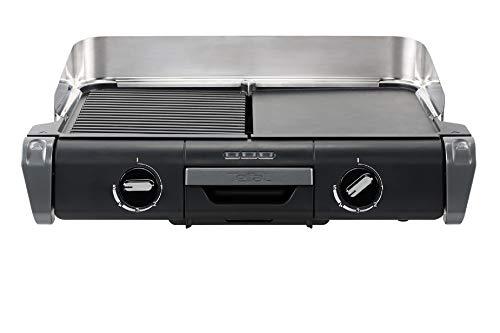 Tefal - Barbecue elettrico Family Flavor 2 in 1, BBQ da tavolo, Grill Plancha, termostato regolabile, 2 superfici di cottura, 2400 W TG804D14