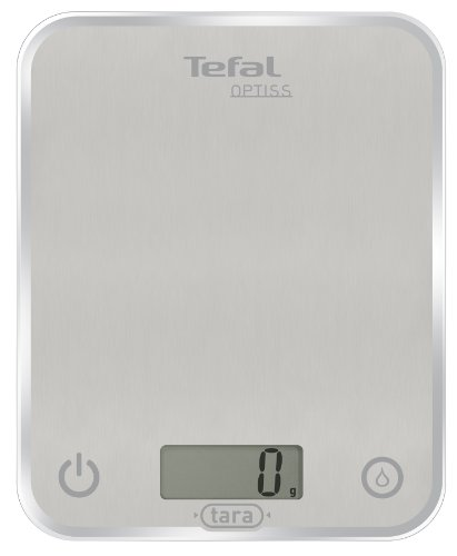 Tefal BC5004 Optiss Glass Bilancia da Cucina Elettronica Silver, elettrica, argento, plastica