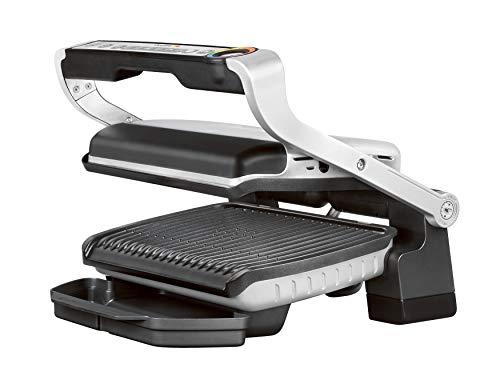 Tefal Optigrill GC705D | Griglia a contatto intelligente | 6 programmi automatici | adatta alla temperatura + ciclo di cottura al cibo | Piastre antiaderenti, 30 cm x 20 cm, acciaio inox/nero