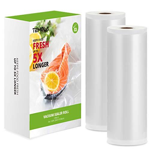 TEMOLA - Rotolo per sottovuoto alimentare, 2 rotoli da 20 x 1530 cm, per sottovuoto e conservazione degli alimenti, senza BPA, per macchina sottovuoto