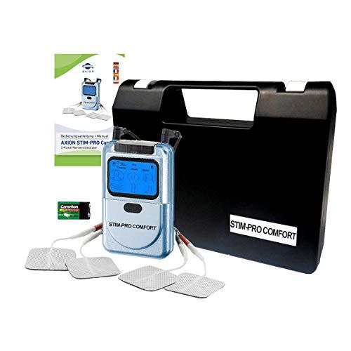 TENS elettrostimolatore muscolare STIM-Pro Comfort - Apparecchio per terapia del dolore 2 canali e 4 elettrodi - qualità axion