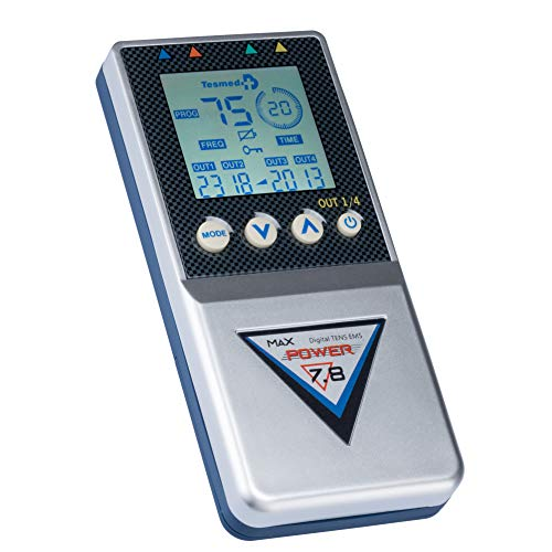 TESMED elettrostimolatore Muscolare Max 7.8 Power con 8 elettrodi- 125 tipologie di trattamenti: Addominali, potenziamento, Aumento Muscolare, estetica, Massaggi Benessere