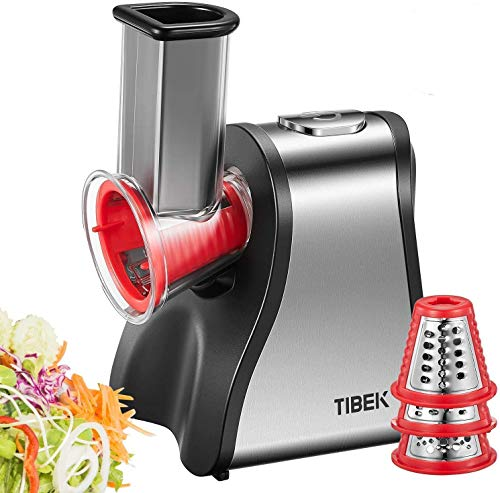 TIBEK Tritatutto da Cucina Elettrico 200W Grattugia Elettrico con 5 Accessori e Ampio Tubo di Alimentazione per Sminuzzare/Affettare/Miscelare Alimenti (Formaggio/Cipolle/Pesto/Insalata/Carota)