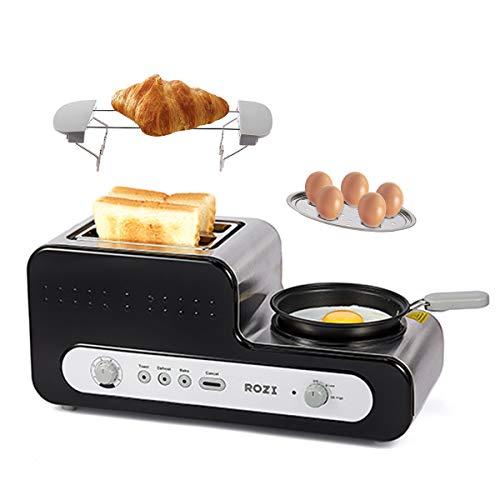 Tostapane 2 Fette Extra-larghi e Toast 6 Livelli Acciaio Tostapane Inossidabile per Uova Sode/Sandwich/Bagel,1230W (Nero)-Rozi