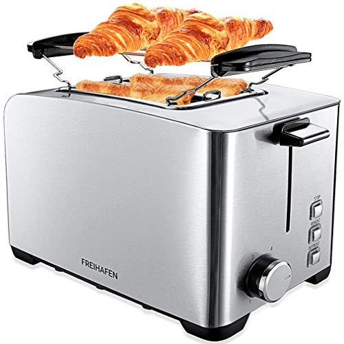 Tostapane 2 Fette, Freihafen 800W Tostapane per Toast con 6 Livelli di Tostatura, Funcioni di Automatico Riscaldamento, Scongelamento e Annullamento, Vassoio Raccogli Briciole Rimovibile