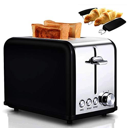 Tostapane, 2 scomparti, 6 livelli di cottura, automatico, 815 W, scongelamento, riscaldamento, rifiuto, funzione sollevamento, con inserto per pane e cassetto per brocche, acciaio inox, nero