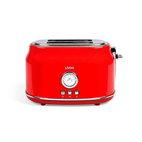 Tostapane rosso Retro Termostato regolabile 6 livelli 2 fette (815 Watt, 2 fessure per tostapane, cassetto raccoglibrici)