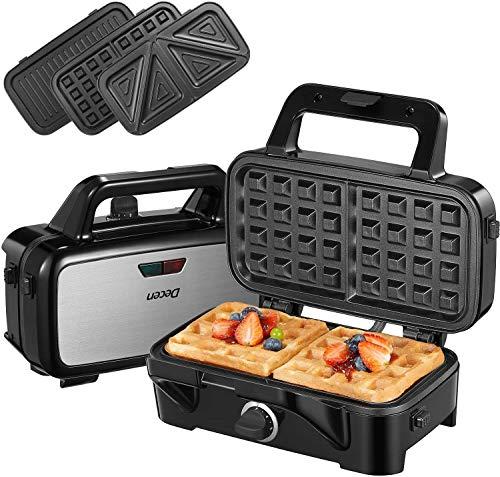 Tostiera 1200W Sandwich Maker, 5 Velocità Piastre per Panini 3 in 1, Cool Touch Waffles Piastra, Gancio Chiusura Piastre Tostapane, Spie LED, BPA Assente, Nero