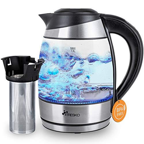 TRESKO Bollitore elettrico 2200W, Capacità 1,8L in acciaio inossidabile con colino per il tè e filtro anticalcare | Illuminazione a LED | Temperatura regolabile | Privo di BPA