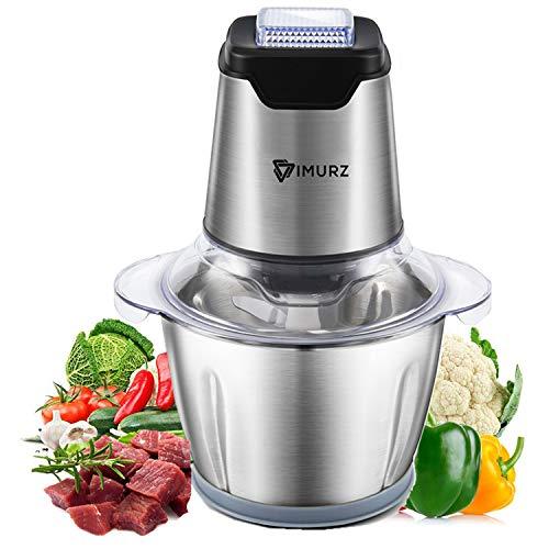 Tritatutto Elettrico, 600W Mini Robot da Cucina, 4 Lame in Acciaio Inox,Ciotola in Acciaio Inox 1,2L, Frullatore Multifunzionale per carne, verdure, frutta, cipolla e noci