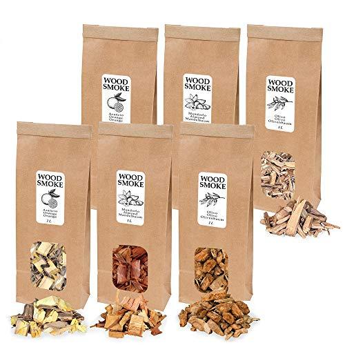 Trucioli di Legno per Affumicatura | Wood Chip per BBQ | Chippati per Barbecue - 1x1L Olivo, 1x1L Arancio, 1x1L Mandorlo, 1x1L Limone, 1x1L Noce, 1x1L Quercia