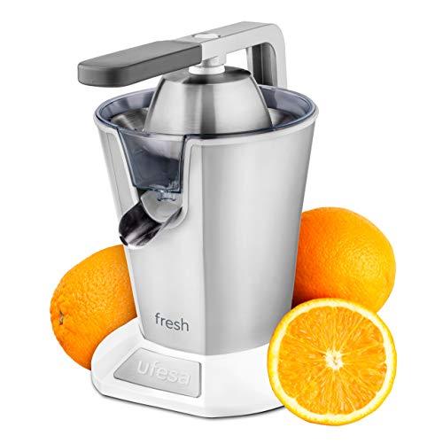 Ufesa EX4960 Fresh Spremiagrumi Elettrico 600 W, Versamento Continuo, Salvagoccia, Doppio Cono, Filtro in Acciaio Inox, Braccio per l'estrazione del succo. BPA Free