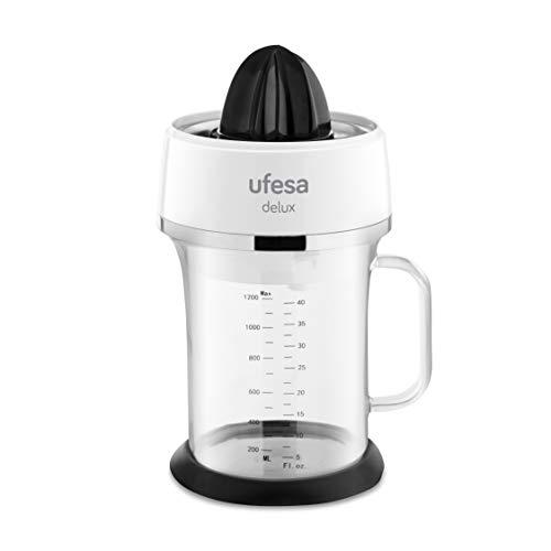 Ufesa EX4970 - Spremiagrumi elettrico con caraffa in vetro da 1,2 L., 40 W, Filtro in acciaio inossodabile, 2 Coni di dimensioni differenti, Adatto al lavastoviglie. BPA Free