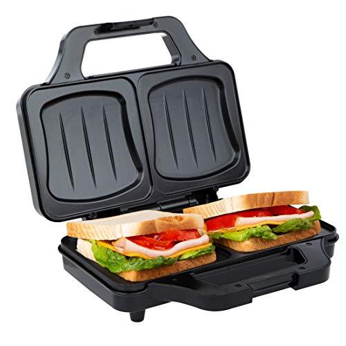 Ultratec Tostapane per sandwich, forma a conchiglia, sandwich maker per toast XXL, piastre antiaderenti, tostapane mini con spia di controllo della temperatura, 900 Watt, nero-argento