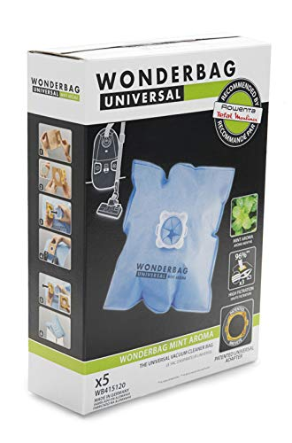 Universal WB415120 Rowenta Wonderbag Sacchetto Universale per Aspirapolvere, 5 Pezzi e 1 Adattatore Riutilizzabile