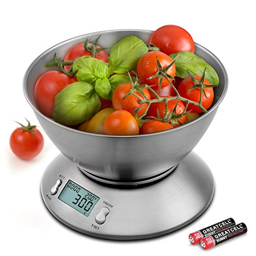 Uten Bilancia da Cucina Digitale Elettronica 5kg con Ciotola in Acciaio Inossidabile da 2 Litri Display LCD, Color Argento