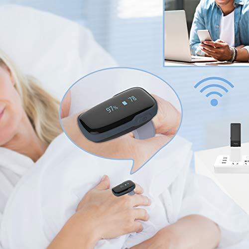 ViATOM Remoto Monitor dell'Ossigeno con WiFi Linker per il Monitoraggio Continuo, Sp-O2 Frequenza Cardiaca Condivisa da Due Utenti per l'Assistenza Famigliare/Clinica, Monitoraggio del Sonno Bluetooth
