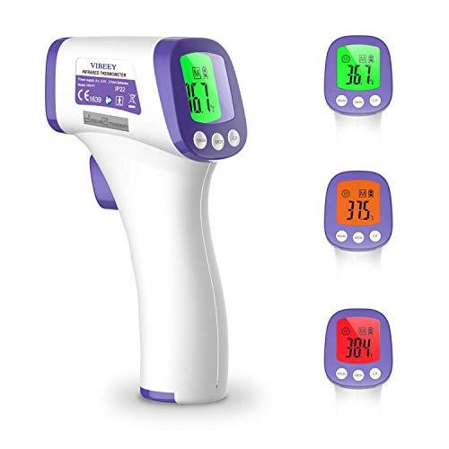 Vibeey Termometro Febbre Infrarossi, Termometro Digitale Frontale Senza Contatto per Neonati e Adulti Reading Lettura Istantanea con Display LCD Digitale - Senza Batteria Inclusa