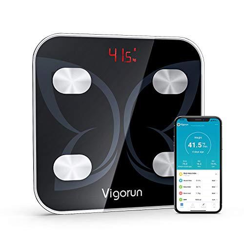 Vigorun Bilancia Pesapersone Digitale, Bilancia Bluetooth Impedenziometrica Analizzatore Bilancia Intelligente con 18 Indici di Corporea per Misura Peso Corporeo Grassa,BMI,Muscolare,Ossea, Proteine