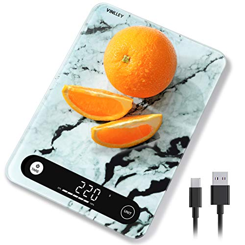 vinlley Bilancia da Cucina Smart Digitale con Funzione Tare Bilancia Alimenti Elettronica Multifunzione con Display LCD per Pesa Cibo per la Casa e la Cucina(Grigio)
