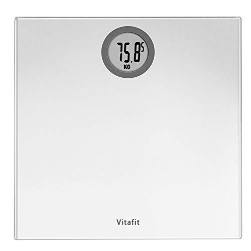 Vitafit Bilancia Pesapersone Digitale Alta Precisione con Tecnologia Step-on,Bilancia Pesa Persona Digitale con Grande display a LCD, 5 kg-180 kg,argento elegante