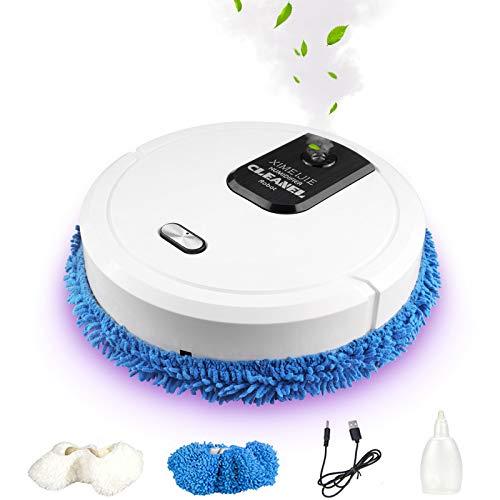 Vococal Robot Lavapavimenti, Tipo Spray Pulizia Automatica, Lavapavimenti Robot da 1500 mAh e 3 Luce, per Umidificazione, Disinfezione, Lavapavimenti Robot per Pavimenti (Bianco)
